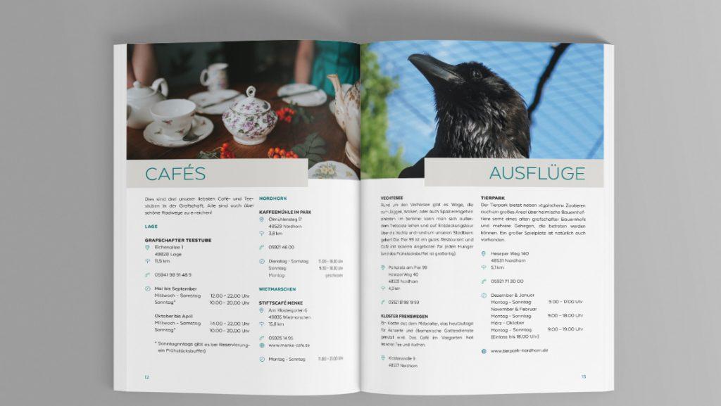 Innenansicht der Broschüre der Ferienwohnung Grafschaft 2