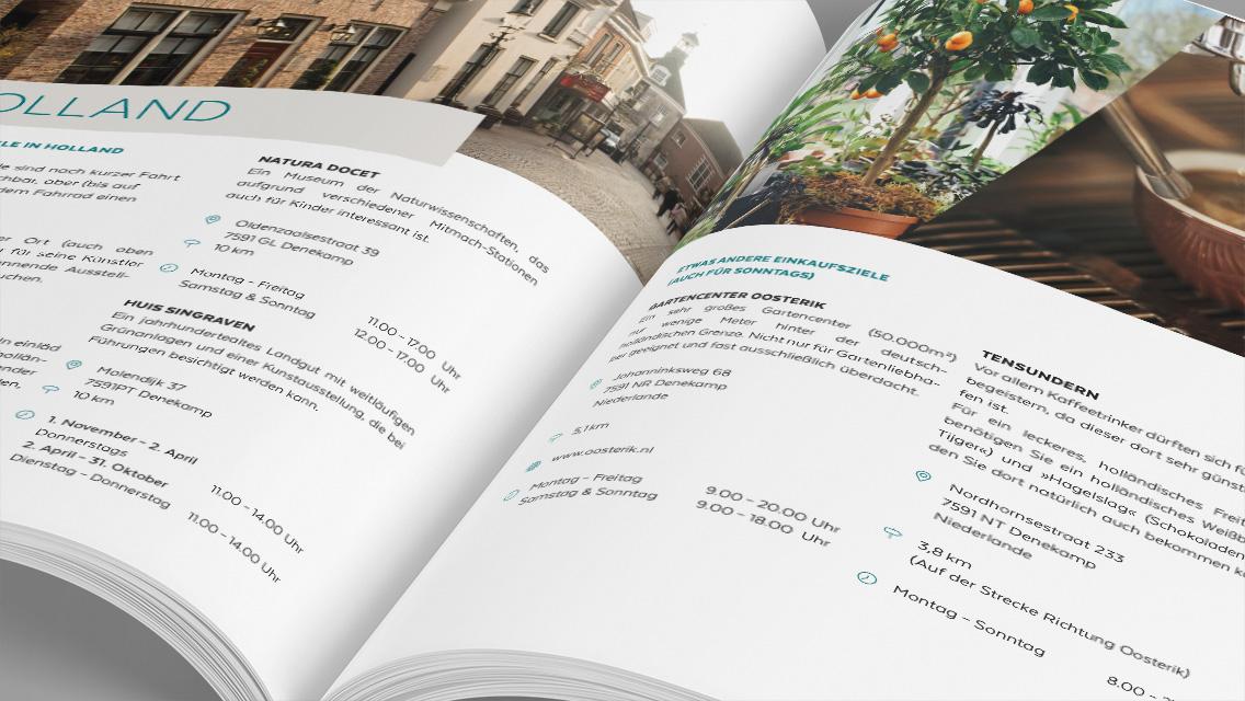 Innenansicht der Broschüre der Ferienwohnung Grafschaft