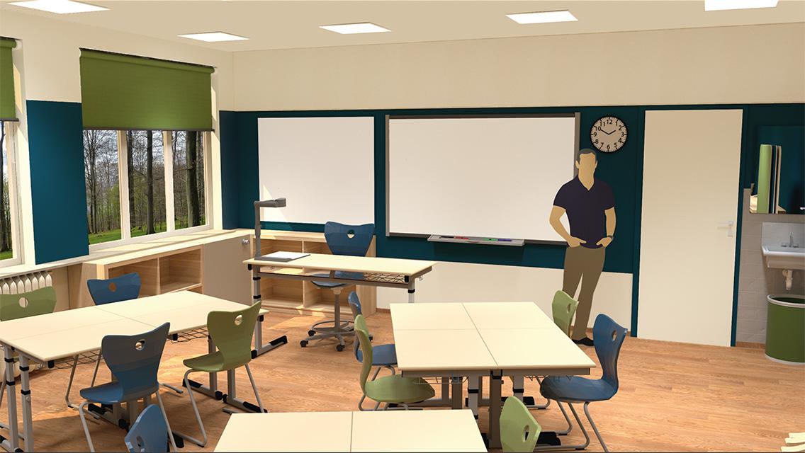 Innenraum-Rendering des geplanten Klassenraums