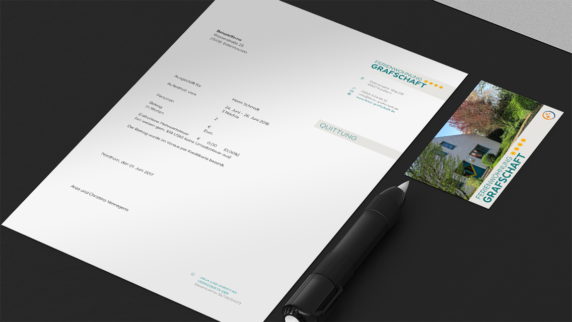 Briefpapier und Visitenkarte der Ferienwohnung Grafschaft