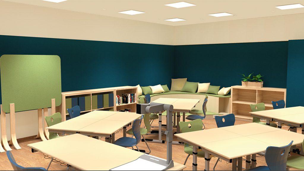 Innenraum-Rendering des geplanten Klassenraums 2